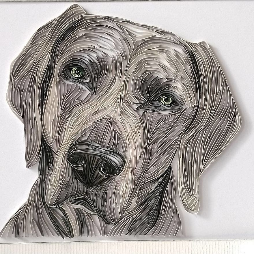 Quilling Paper Artwork Dog by Bekah Stonefox