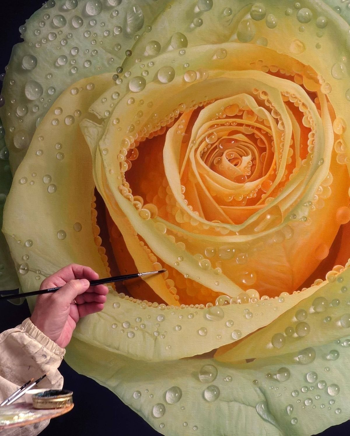 Hyper Realistic Oil Painting Yellow Flower by Gioacchino Passini