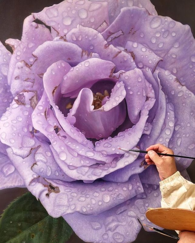 Realistic Oil Painting Rose by Gioacchino Passinni