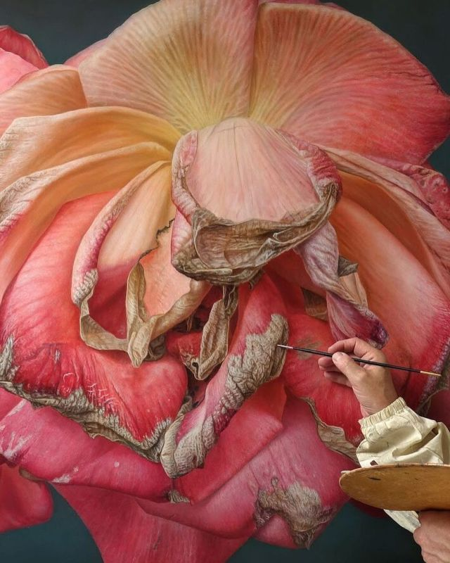 Realistic Oil Painting Dry Rose by Gioacchino Passinni