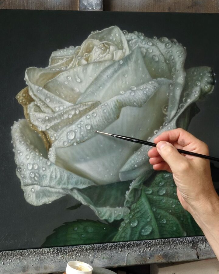 Hyper Realistic Painting White Rose by Gioacchino Passini