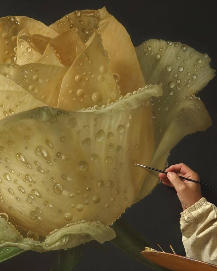 Hyper Realistic Painting Yellow Rose by Gioacchino Passini