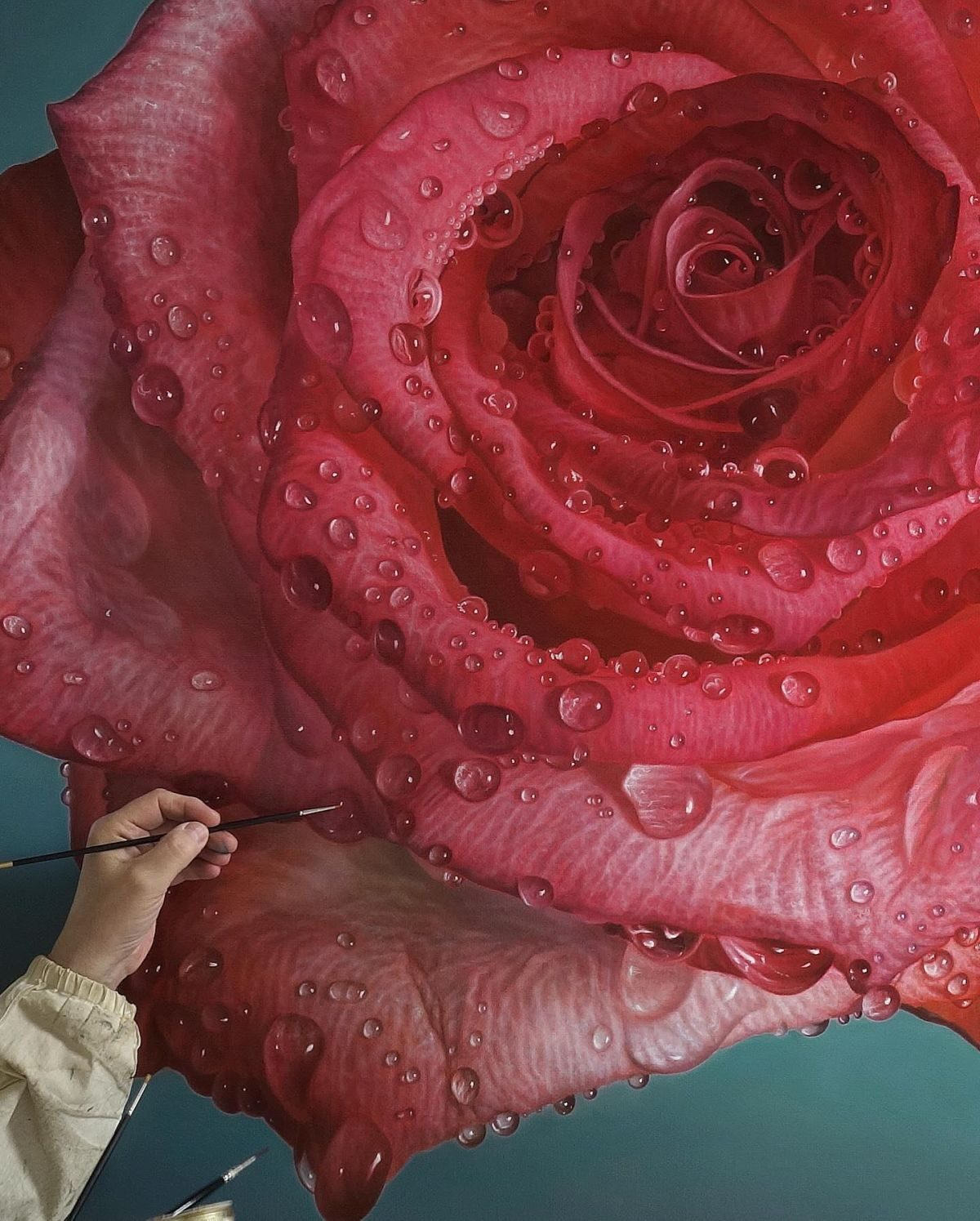 Hyper Realistic Oil Painting Rose by Gioacchino Passini
