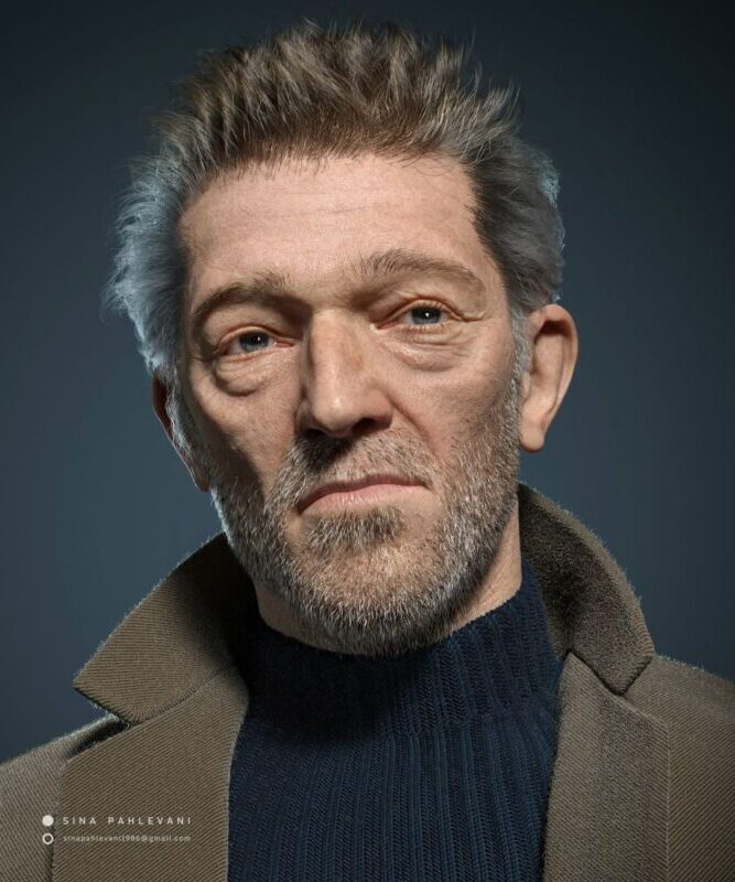 Realistic 3D Model Design Vincent Cassell by Sina Pahlevani
