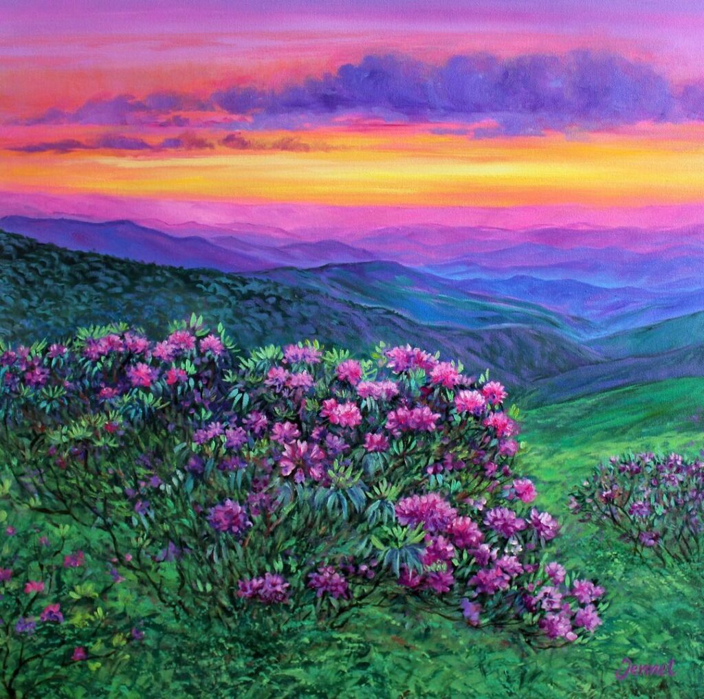 Oil Painting Sunrise by Jennet Norman