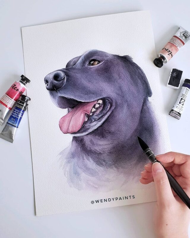 Watercolor Painting Labrador Dog by Wendypaints