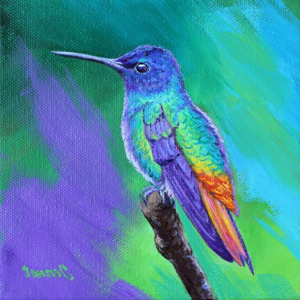 Oil Painting Humming Bird by Jennet Norman