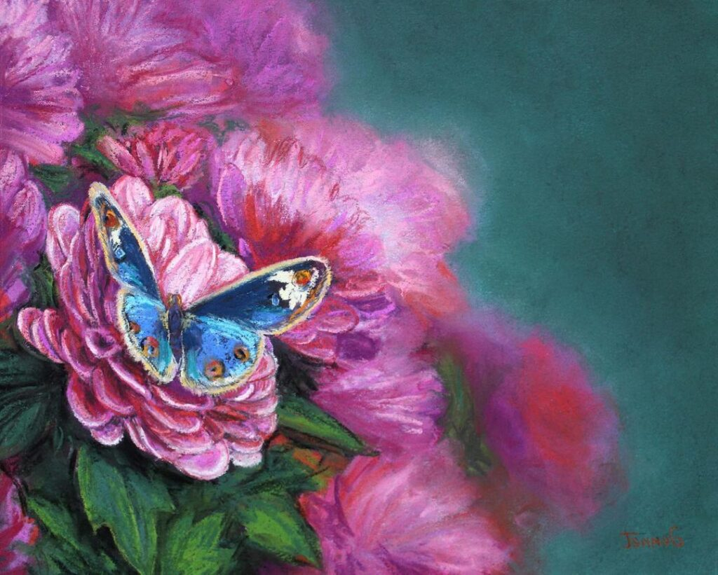 Oil Painting Butterfly by Jennet Norman