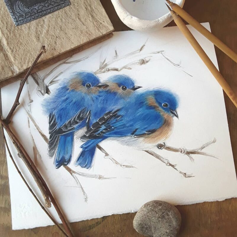 Watercolor Painting Birds by Anna Llorens