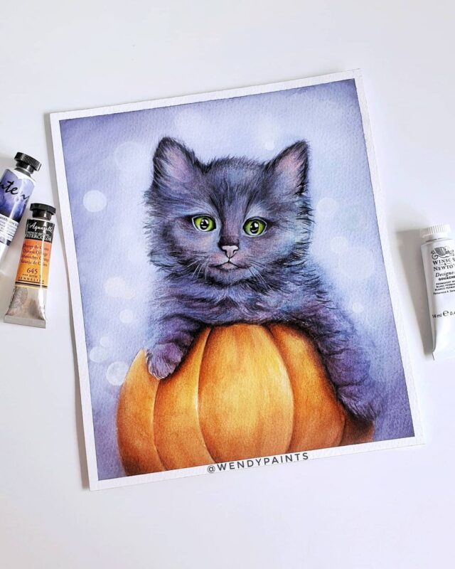 Watercolor Painting Cat by Wendypaints