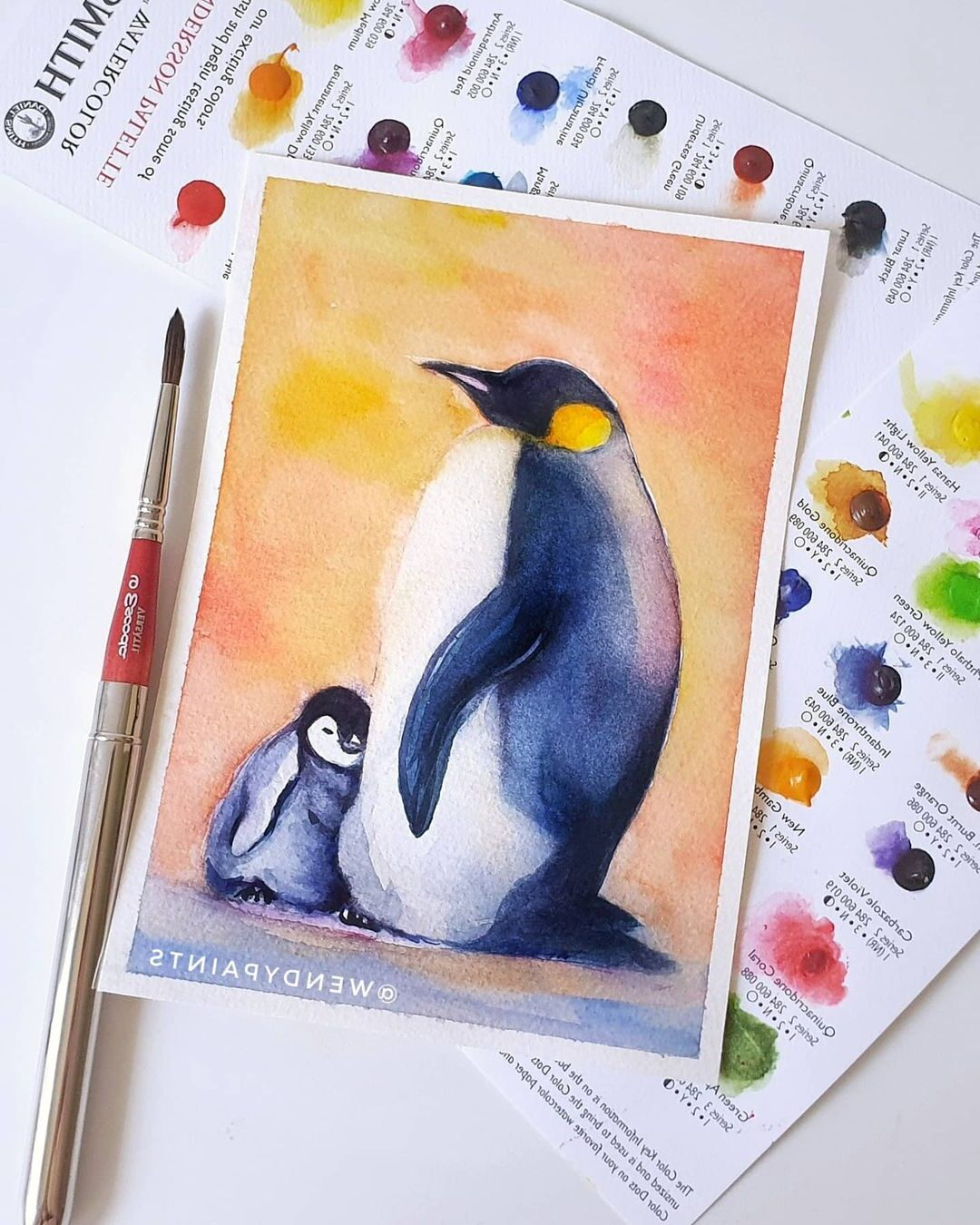 Watercolor Painting Penguin by Wendypaints