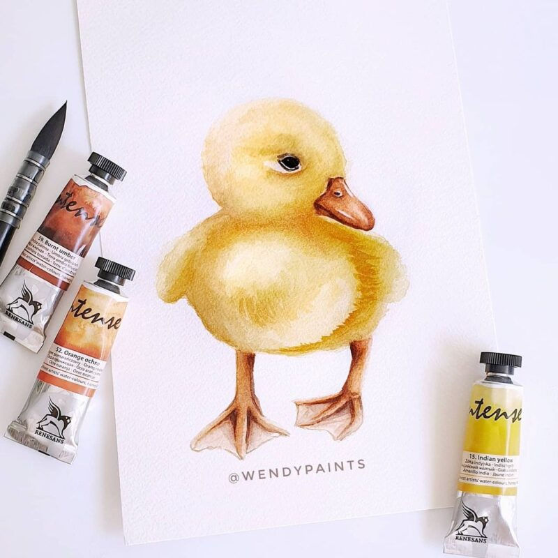 Watercolor Painting Duckling by Wendypaints