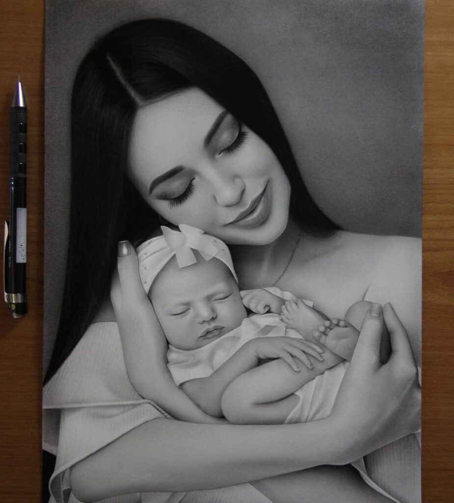 Realistic Pencil Drawing Mom and Baby by Noxchi Yu