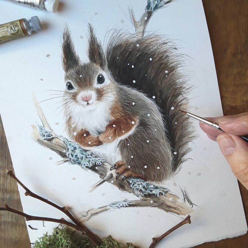 Water Color Painting Squirrel by Anna Llorens