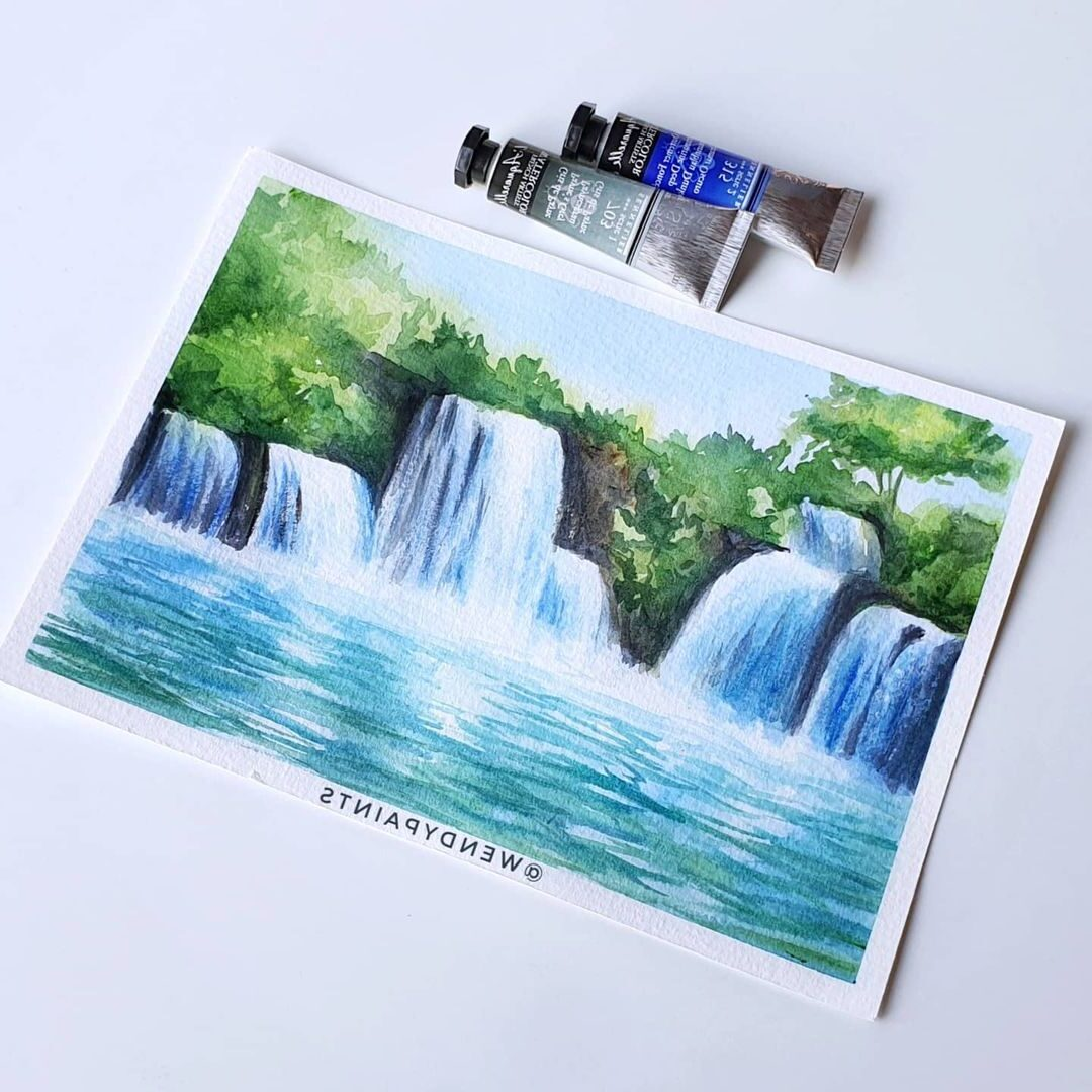 Watercolor Painting Waterfall by Wendypaints