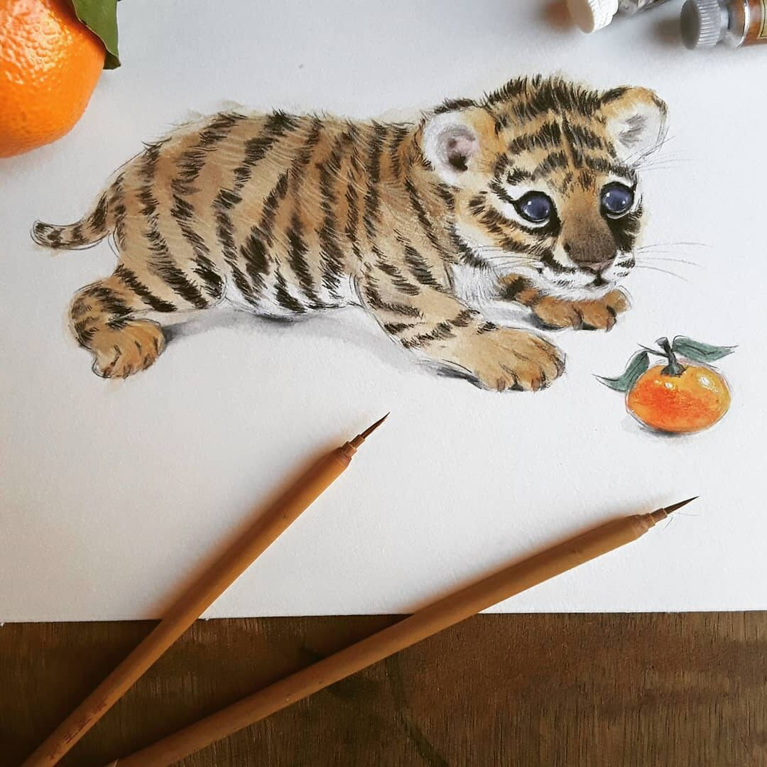Water Color Painting Tiger Cub by Anna Llorens