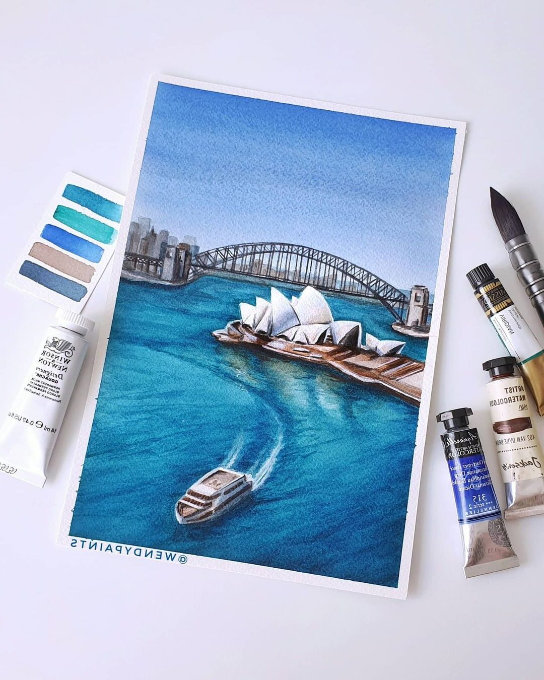 Watercolor Painting Sydney Opera House by Wendypaints