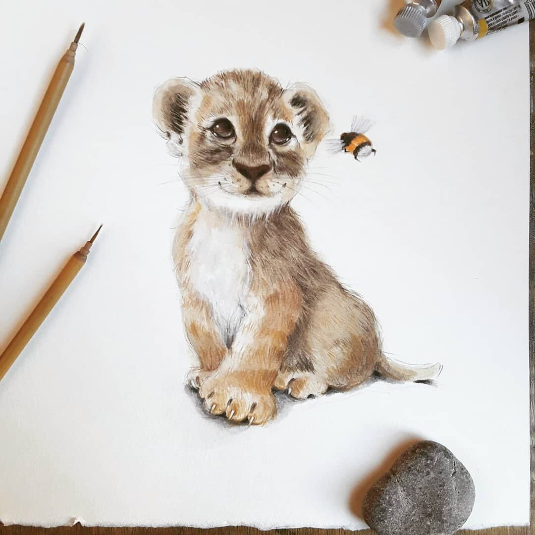 Water Color Painting Lion Cub by Anna Llorens