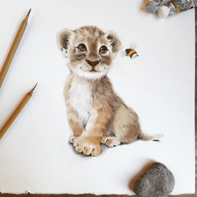 Watercolor Painting Lion Cub by Anna Llorens
