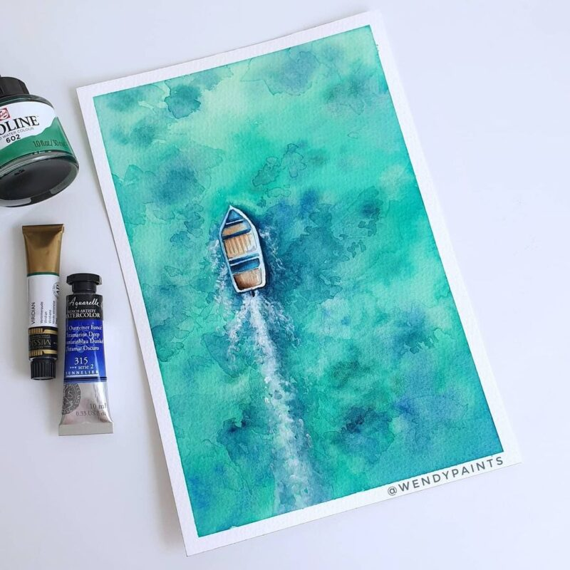 Watercolor Painting Boat by Wendypaints