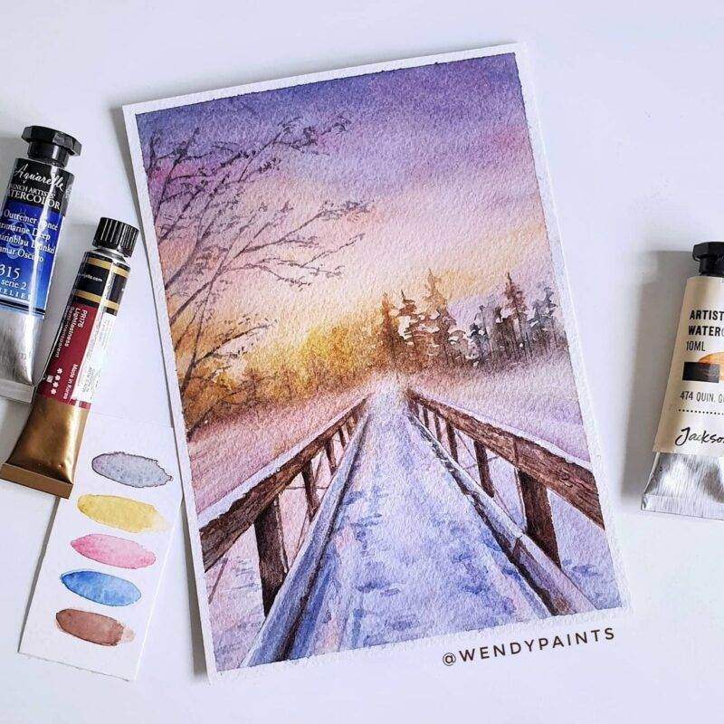 Watercolor Painting Sunset by Wendypaints