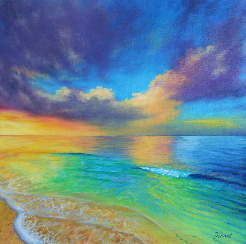 Oil Painting Beach by Jennet Norman