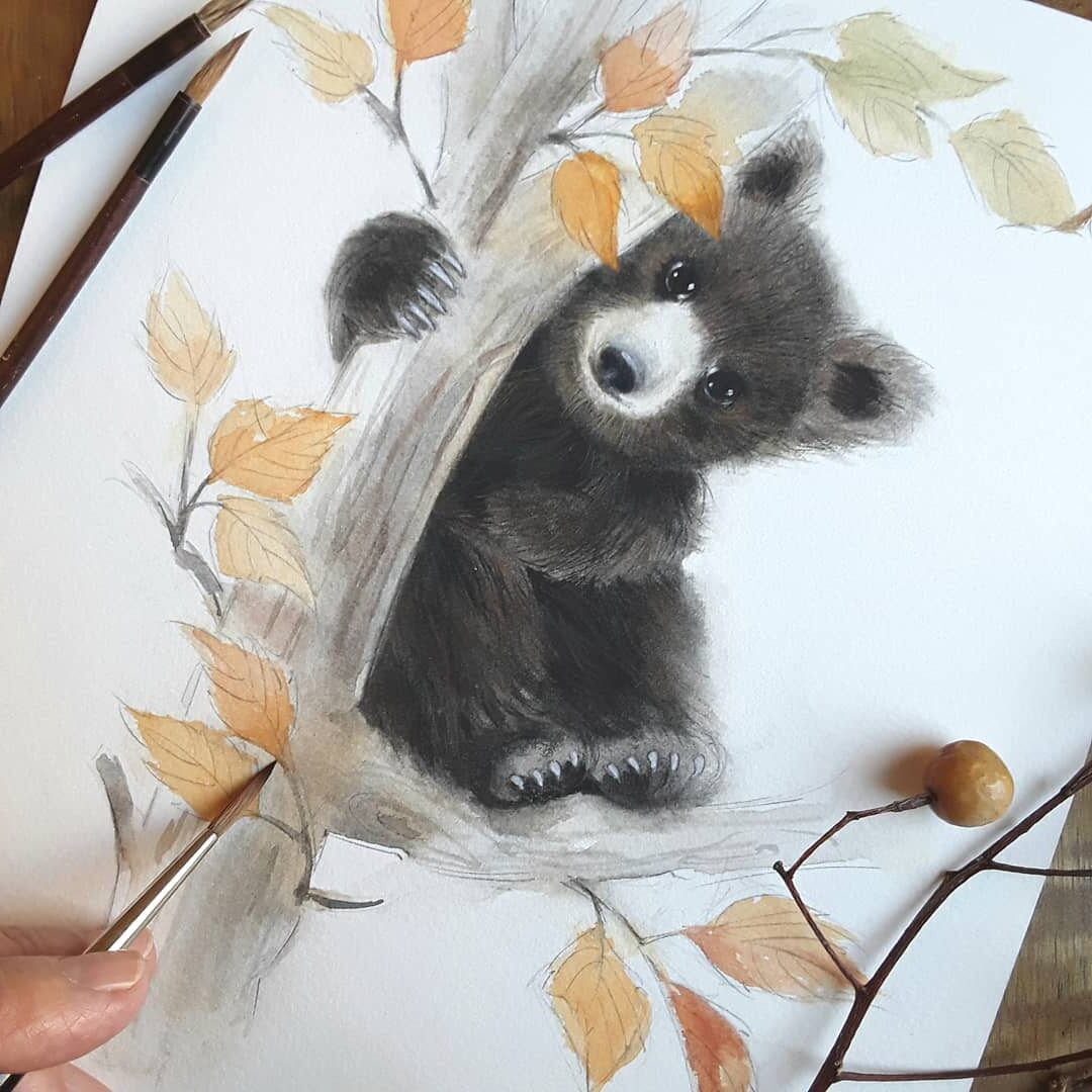 Water Color Painting Bear by Anna Llorens