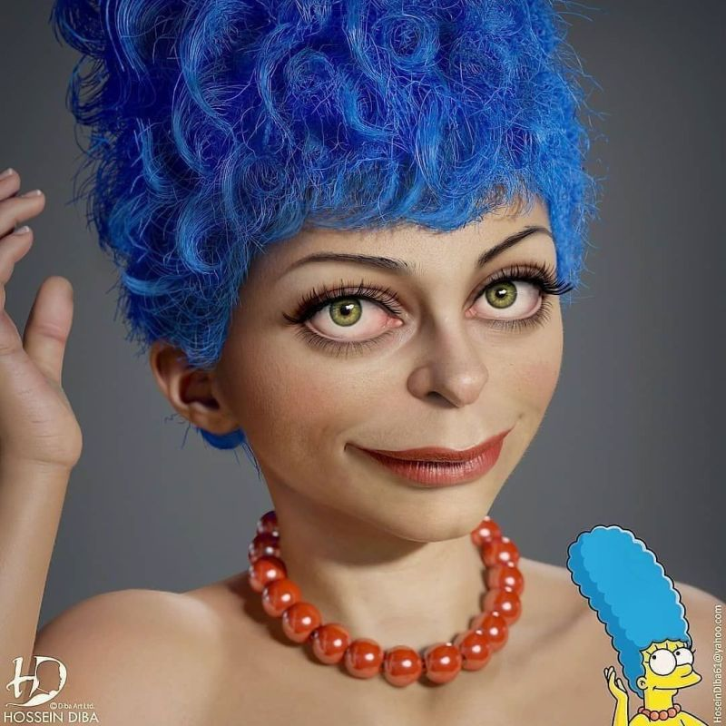 Reallife Simpsons 3d Character Design Marge by Hosseini Diba