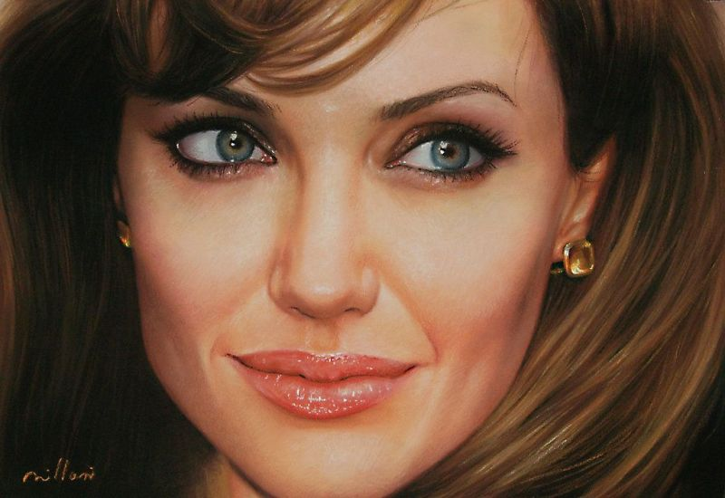Hyper Realistic OIl Painting Angelina Jolie by Fabiano Millani