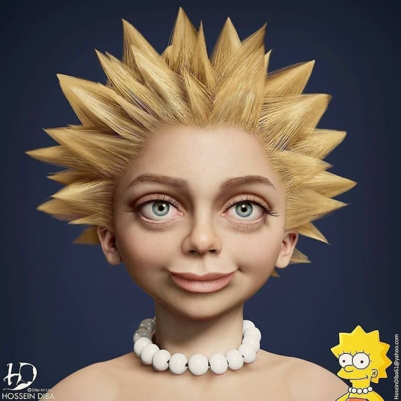 Reallife Simpsons 3d Character Design Maggie by Hosseini Diba