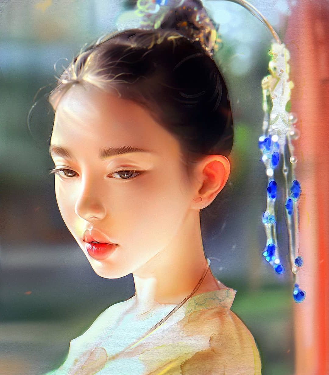 Portrait Painting Chinese Girl