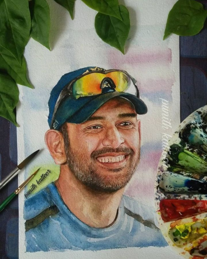 Watercolor Painting MS Dhoni by Punith Kattoor