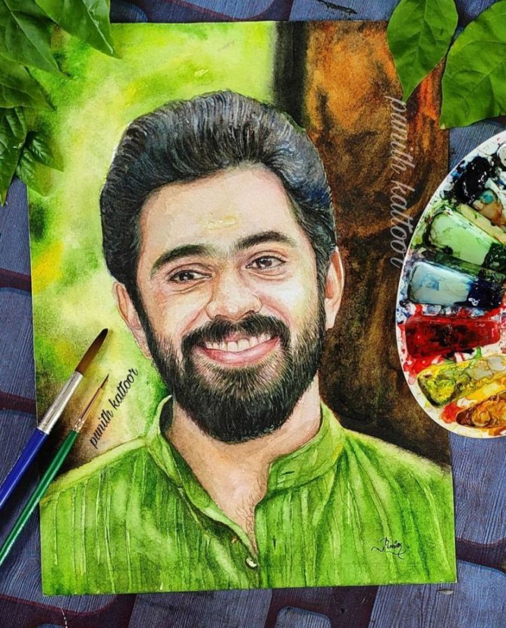 Watercolor Painting Nivin Pauly by Punith Kattoor