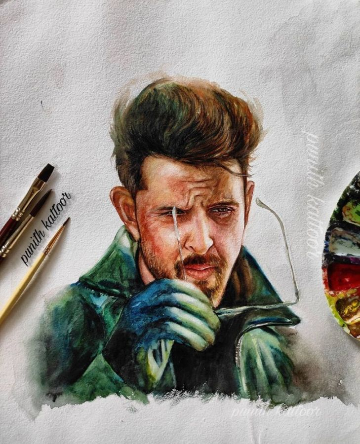 Watercolor Painting Hrithik Roshan by Punith Kattoor