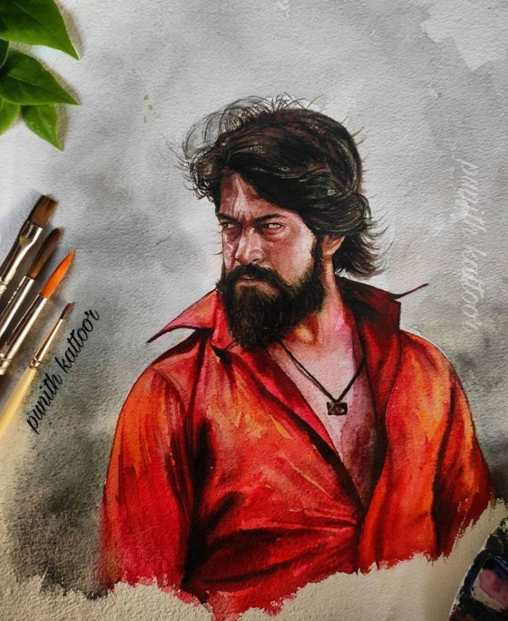 Watercolor Painting Yash by Punith Kattoor