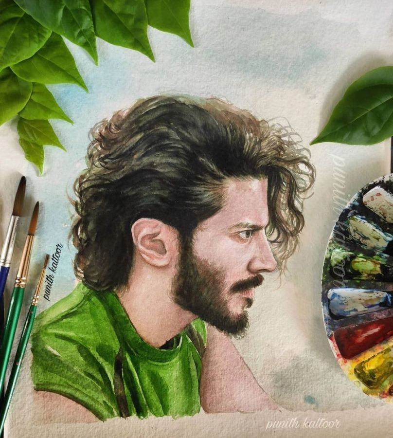 9 watercolor painting dulquer salman by punith kattoor 1